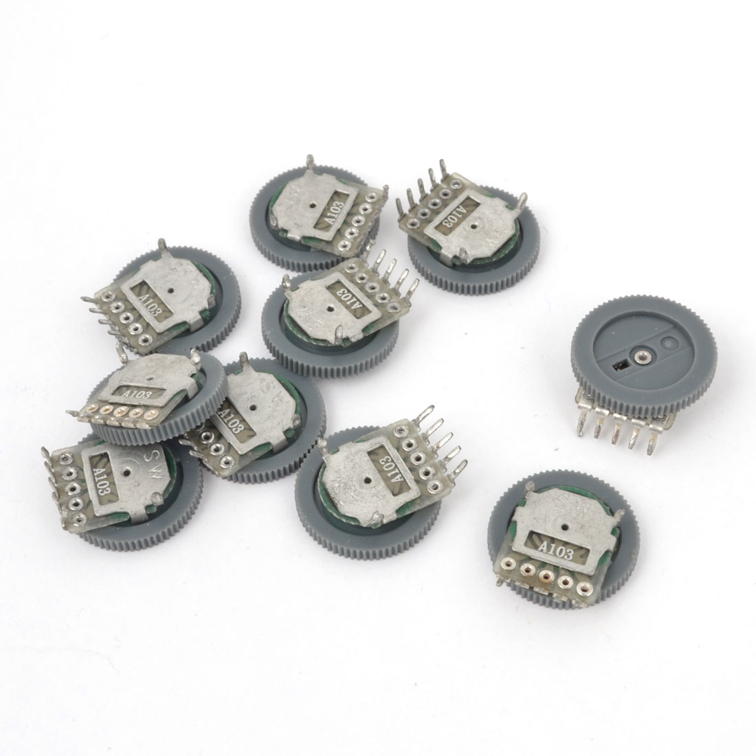 10 Pieces 16mm Dia 5 Terminal Adjustable Potentiometer 10K Ohm Gray