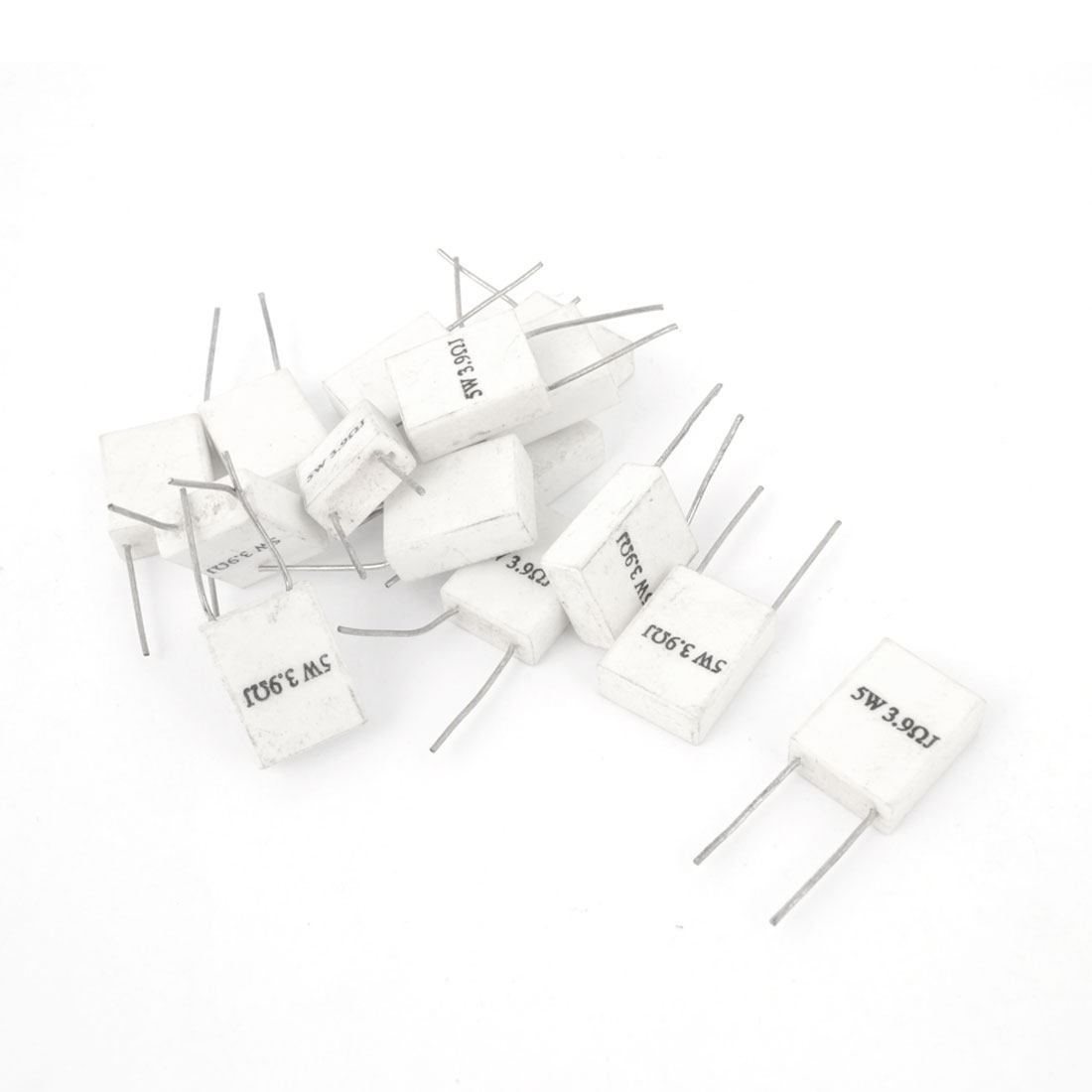 15 PCS 3.9 Ohm 5 Watt Wirewound Radial Ceramic Cement Resistors