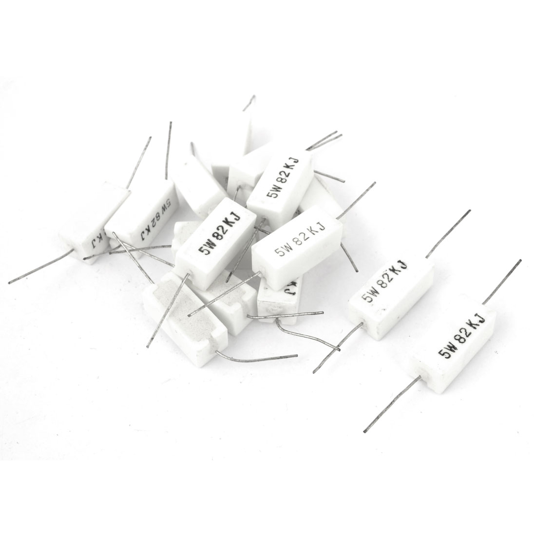 5W 82K Ohm Axial Lead 5% Tolerance White Rectangle Ceramic Cement Power Resistor 15 Pcs