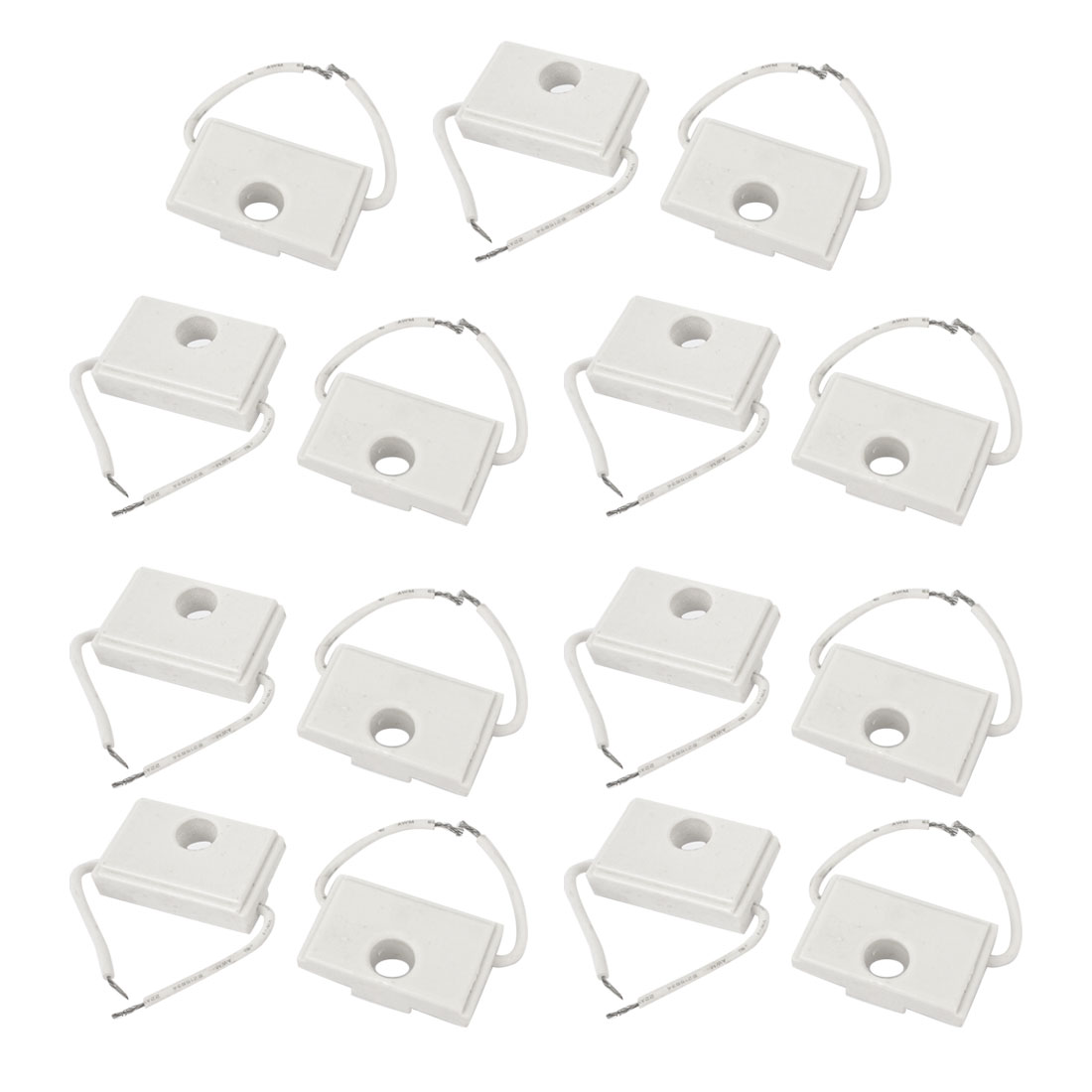 Wire Lead 7W 9.6K ohm 2% Tolerance White Rectangle Ceramic Cement Power Resistor 15 Pcs