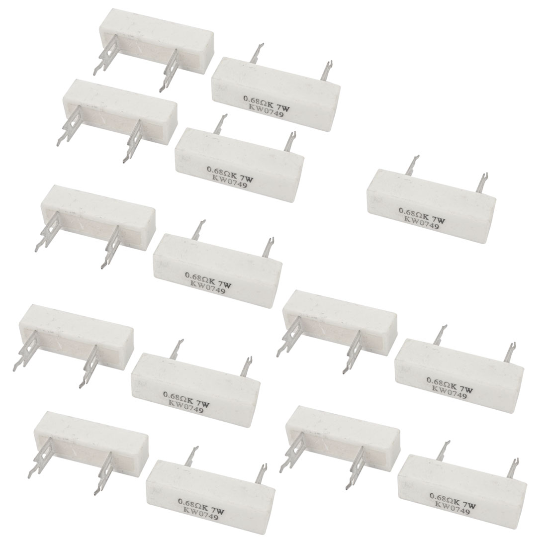 15 Pcs 7W 0.68 Ohm Radial Lead Ceramic Cement Power Resistor