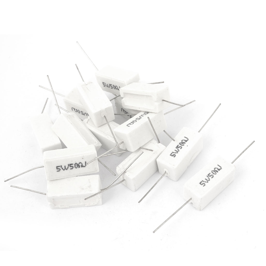 5W 50 Ohm Axial Lead Watt Tolerance 5% White Rectangle Wire Lead Ceramic Cement Power Resistor 15 Pcs