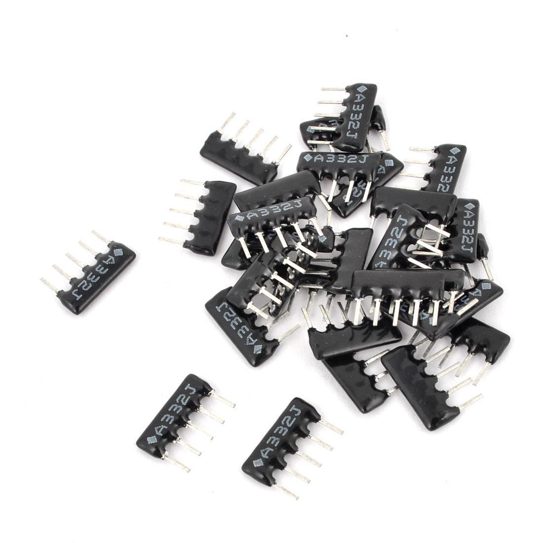 15 Pcs A05-3322 3.2K ohm 2.54 Pitch 5 Pin Lead Network Resistors