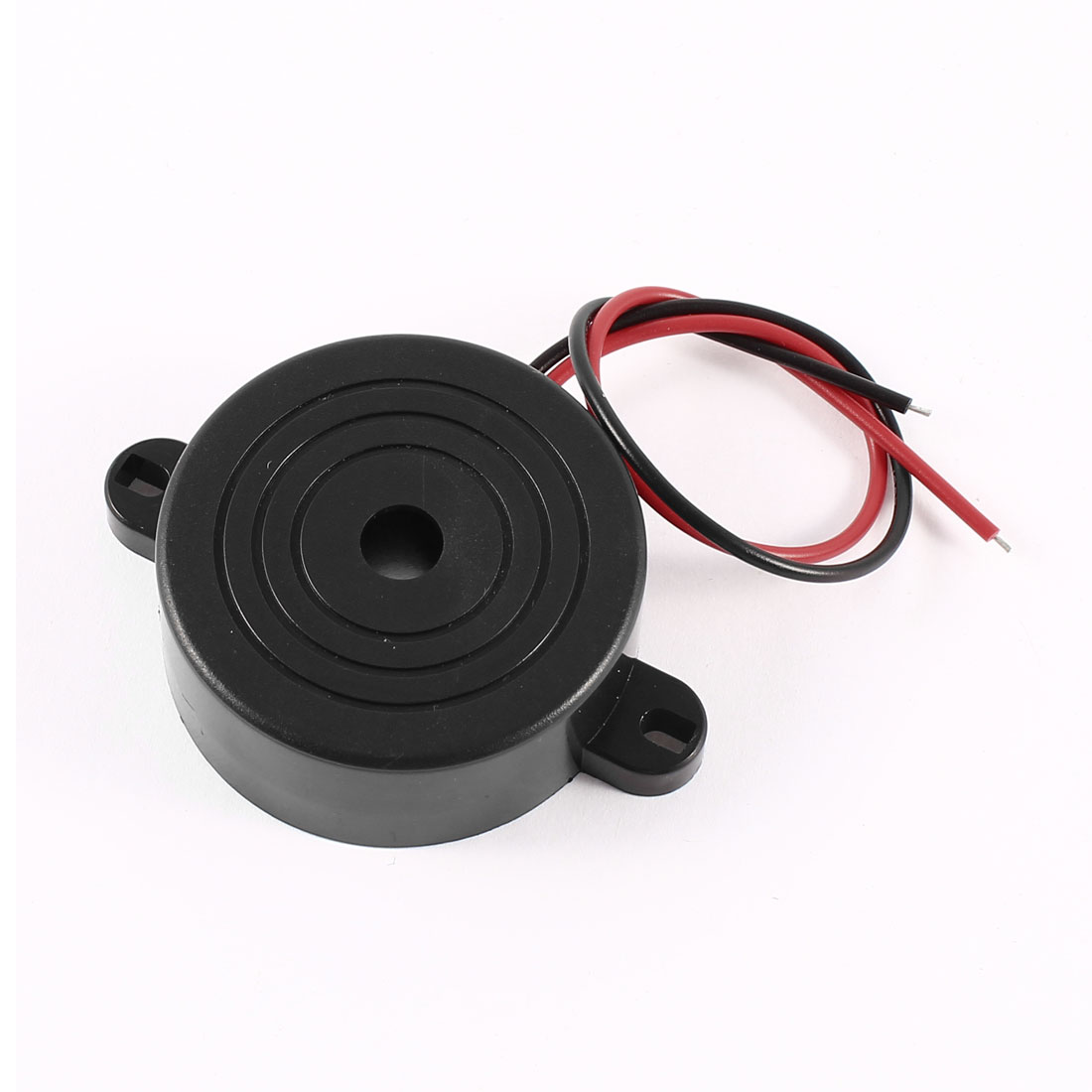 Industrial Black Red Cable Continuous Sound Electronic Buzzer DC 3-24V 42mmx16mm