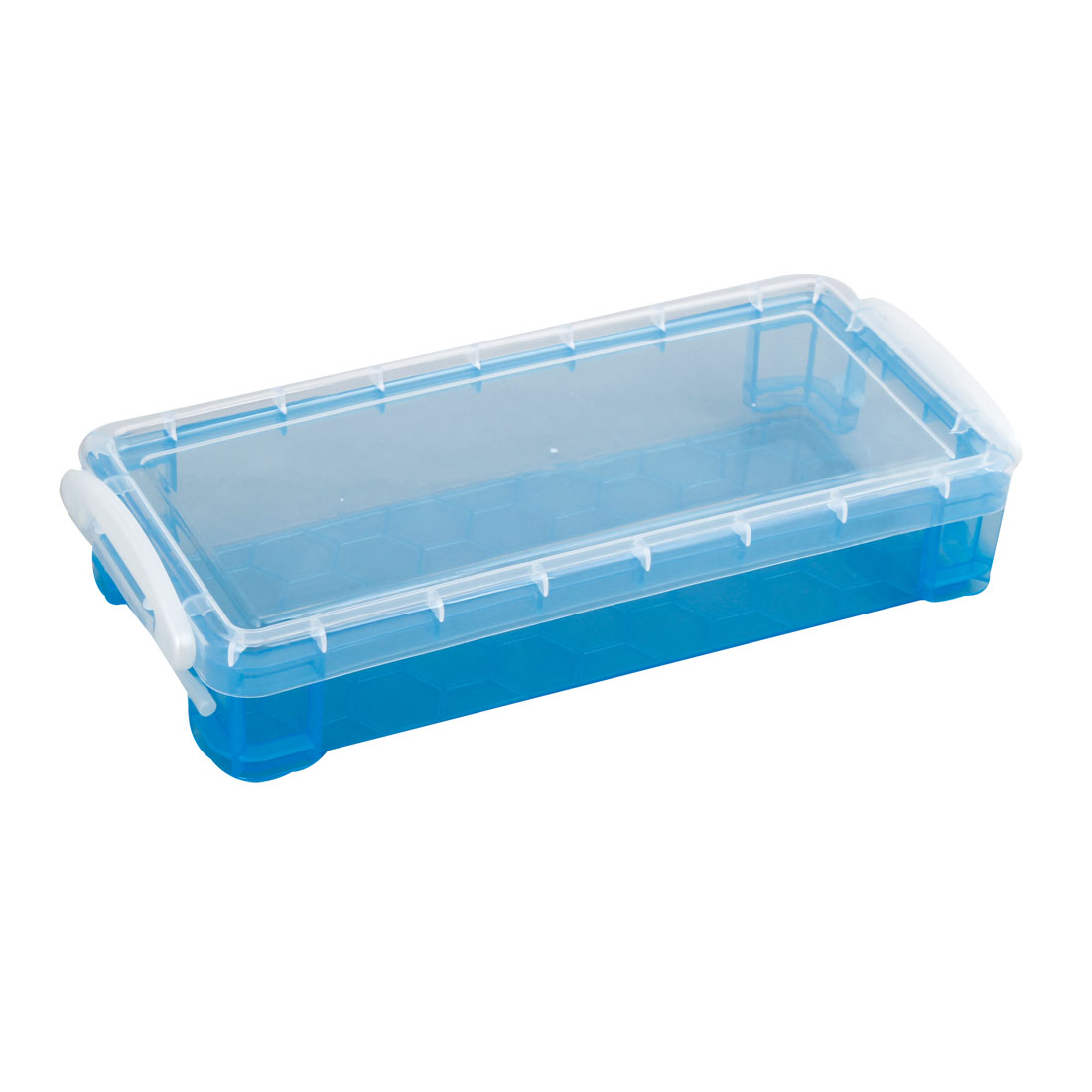 Household Clear Blue Rectangle Plastic Clip On Lid Storage Box Holder