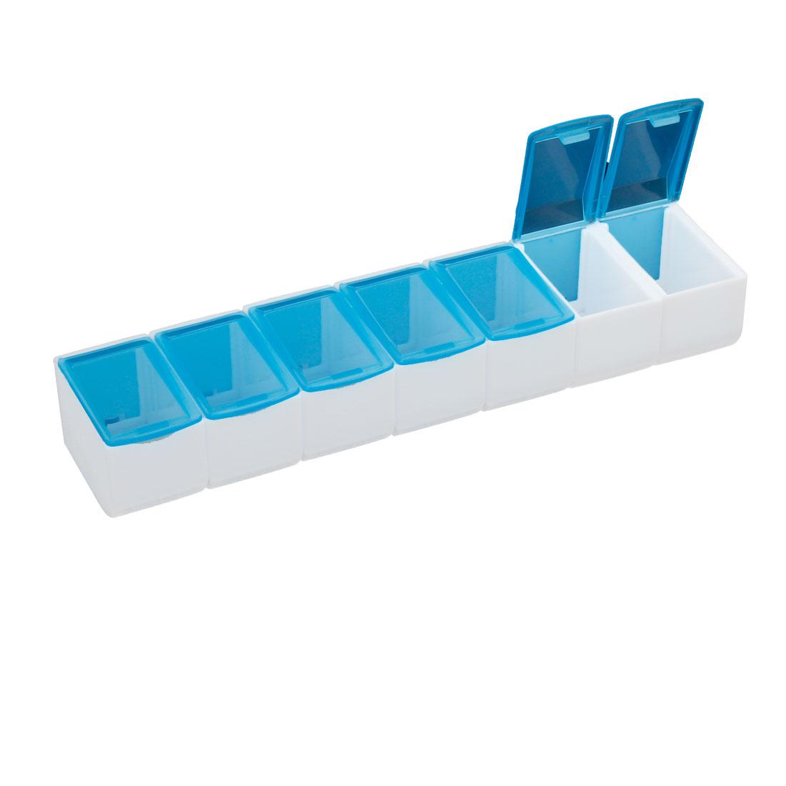 Blue White Plastic 7 Detachable Mini Slots Linked Storage Case Box Holder