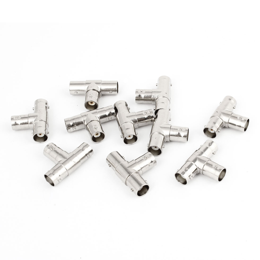 10pcs BNC Female to Dual BNC Female Plug T Adapter Connector Silver Tone