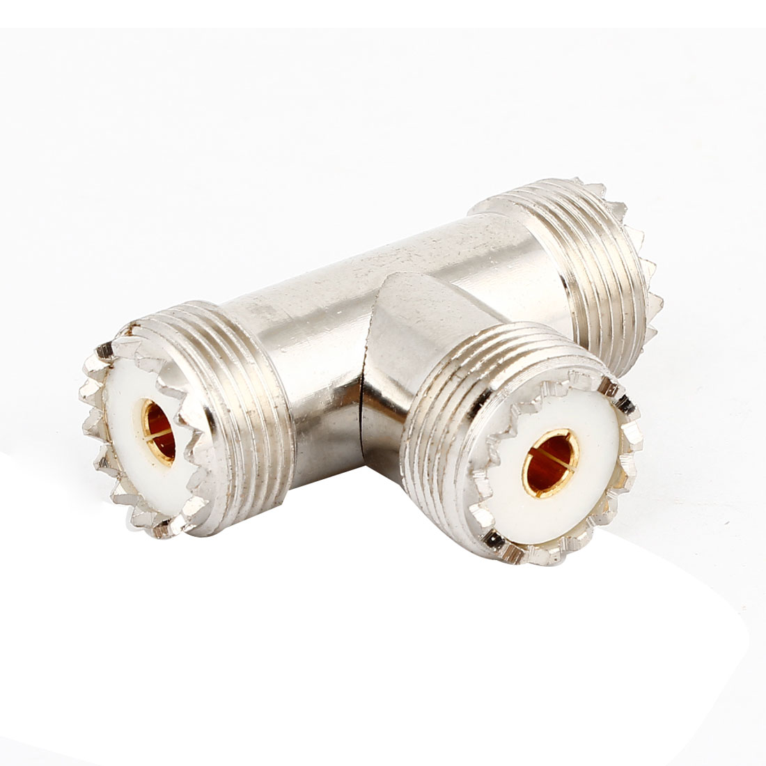 Silver Tone UHF Female to 2 UHF Female Jack Adapter 3 Way T-Shaped Connector