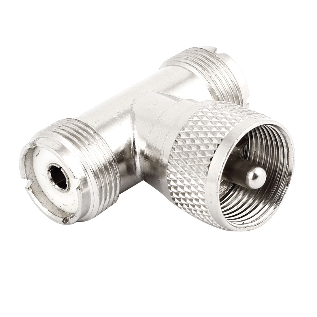 UHF Male to Double UHF Female 3 Ways T Shape Tee Connector Adapter Silver Tone