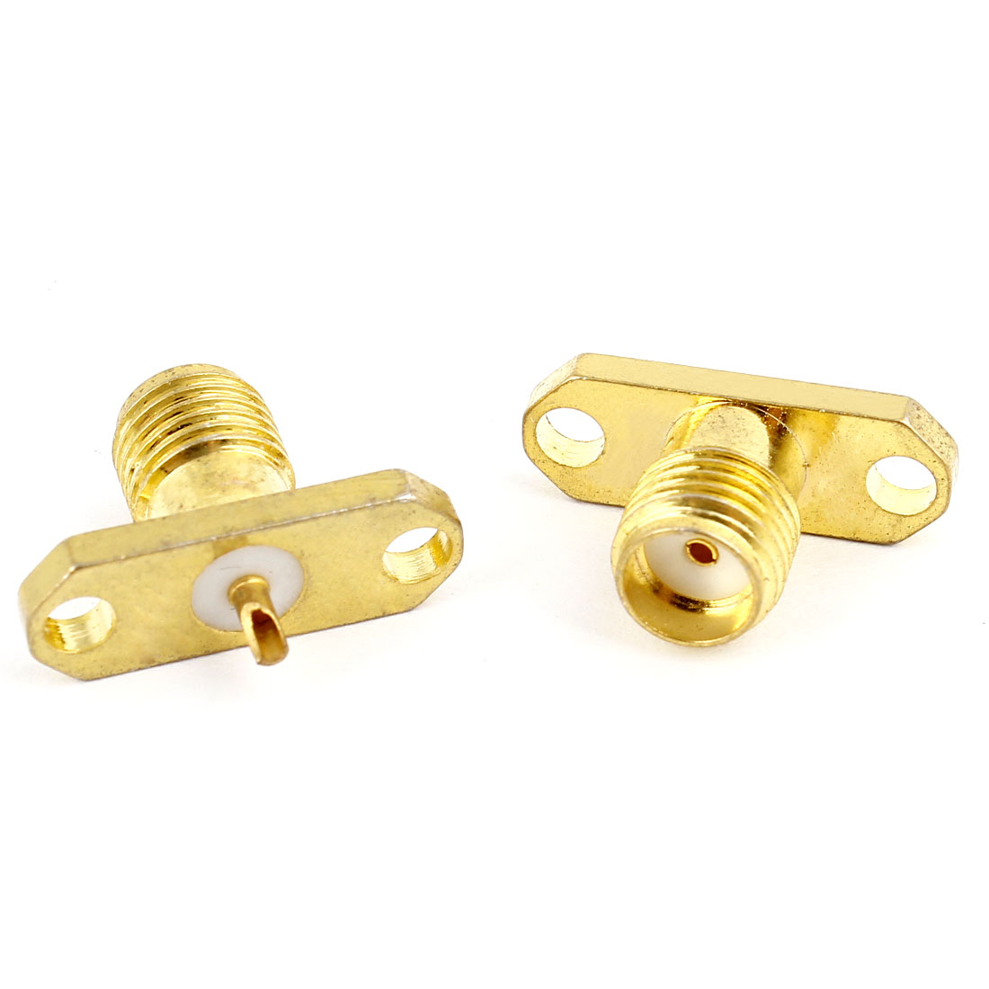 2pcs SMA Female 2-hole Flange Panel Mount Connector Adapter