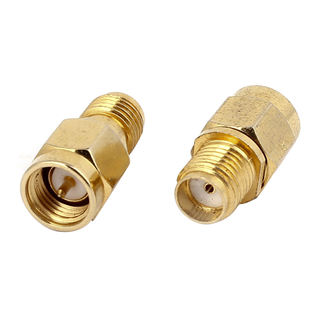 2pcs Gold Tone Metal SMA Female to SMA Male F/M RF Coaxial Coax Adapter Connector