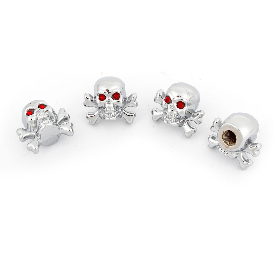 4 Pcs Auto Car Red Rhinestones Eyes Skull Shape Metal Tire Valve Dust Cap Cover Silver Tone