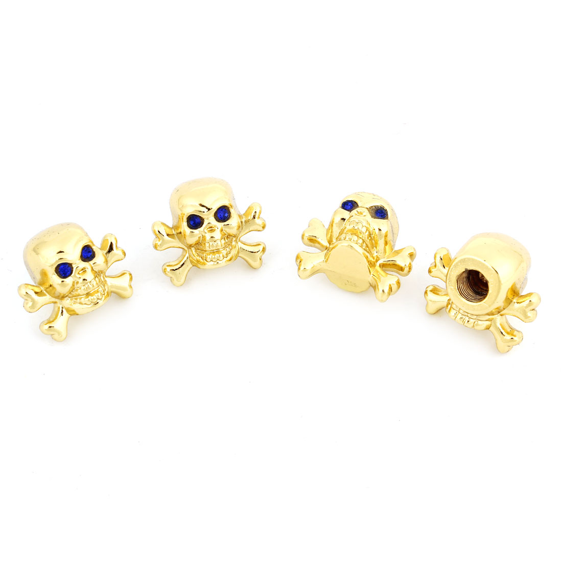 4 Pcs Blue Rhinestones Decor Gold Tone Skull Shape Tyre Valve Stem Caps for Car Truck