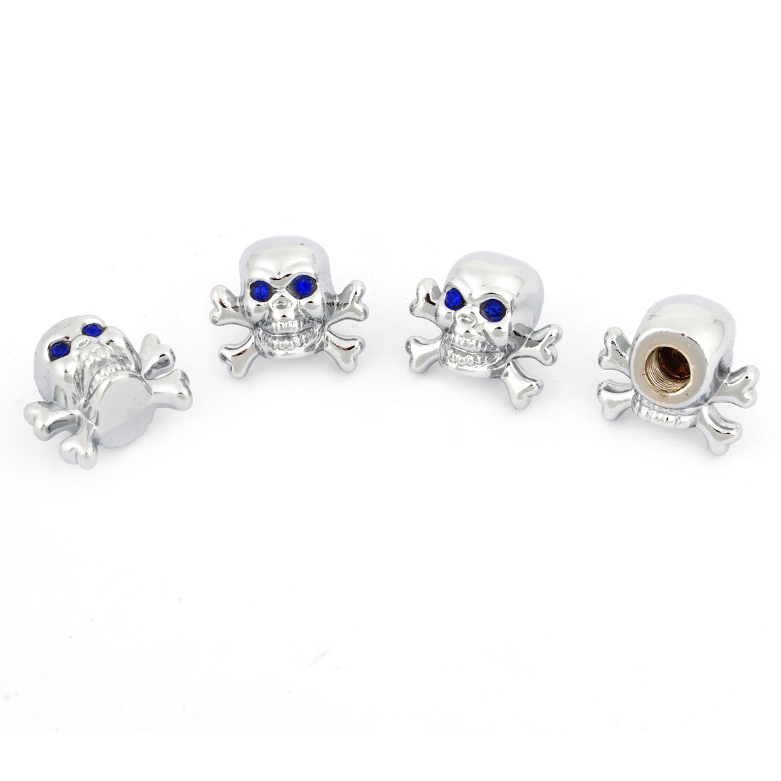 Blue Eyes Evil Skull Car Tyre Valve Dust Caps Stem Covers Silver Tone 4 Pcs