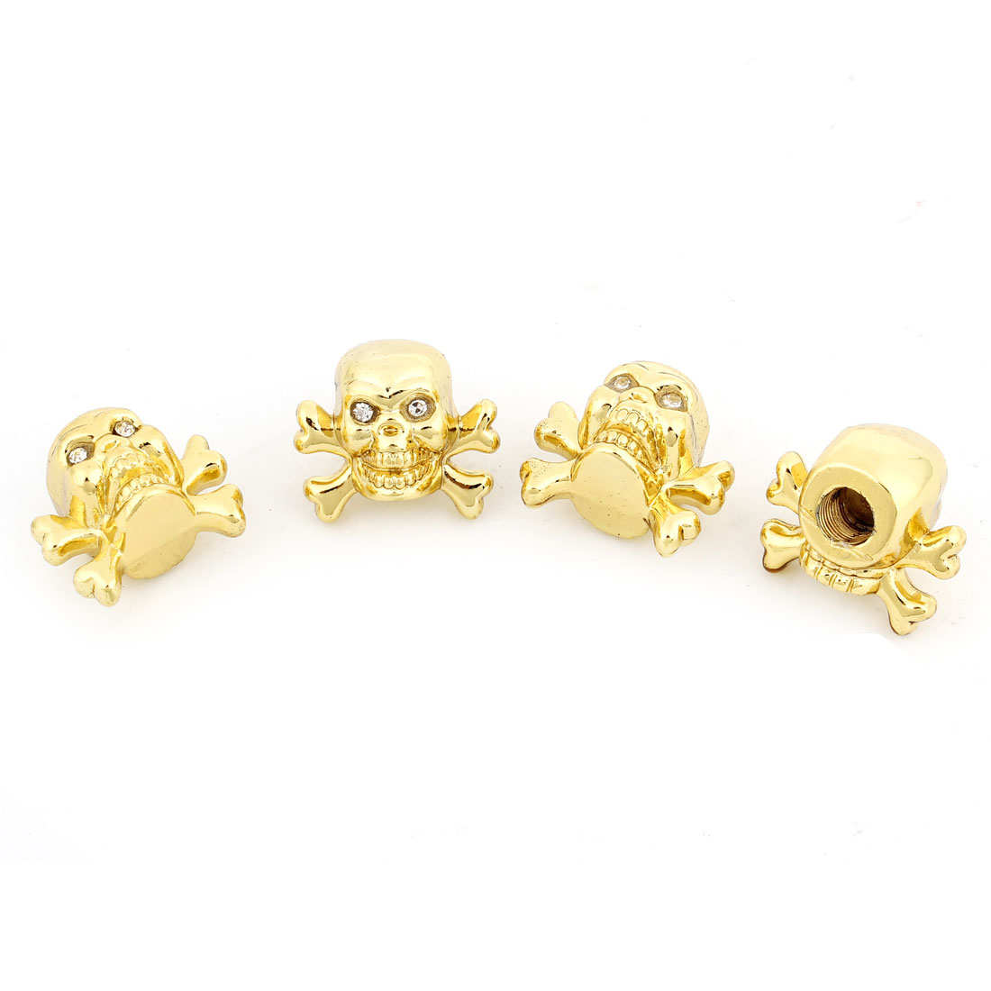 4 Pcs Auto Car Rhinestones Eyes Skull Shape Metal Tire Valve Dust Cap Cover Gold Tone