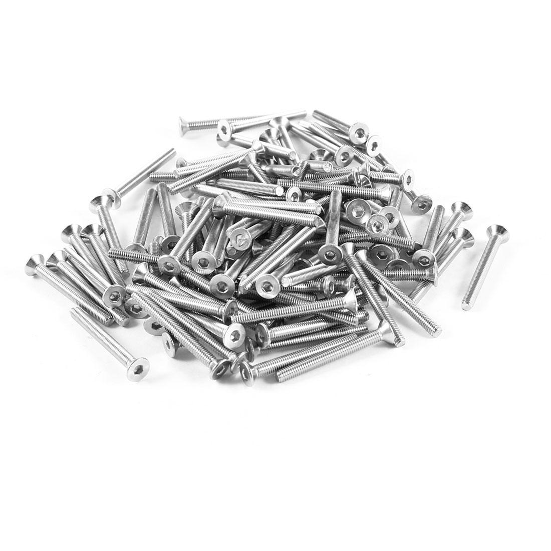 100 x 304HC Stainless Steel Countersunk Flat Head Hex Socket Bolts Screw M3x28mm