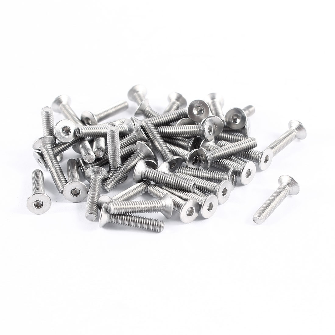 50 Pcs 304HC Stainless Steel Countersunk Hex Flat Head Bolts Screws M2.5x12mm