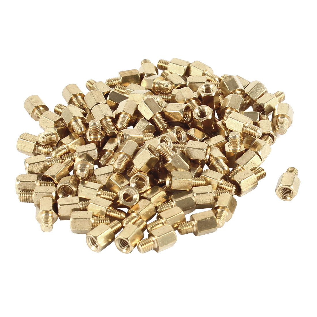 M3 Male to Female Thread 5mm+5mm PCB Spacer Stand-off 10mm Gold Tone 100 Pieces