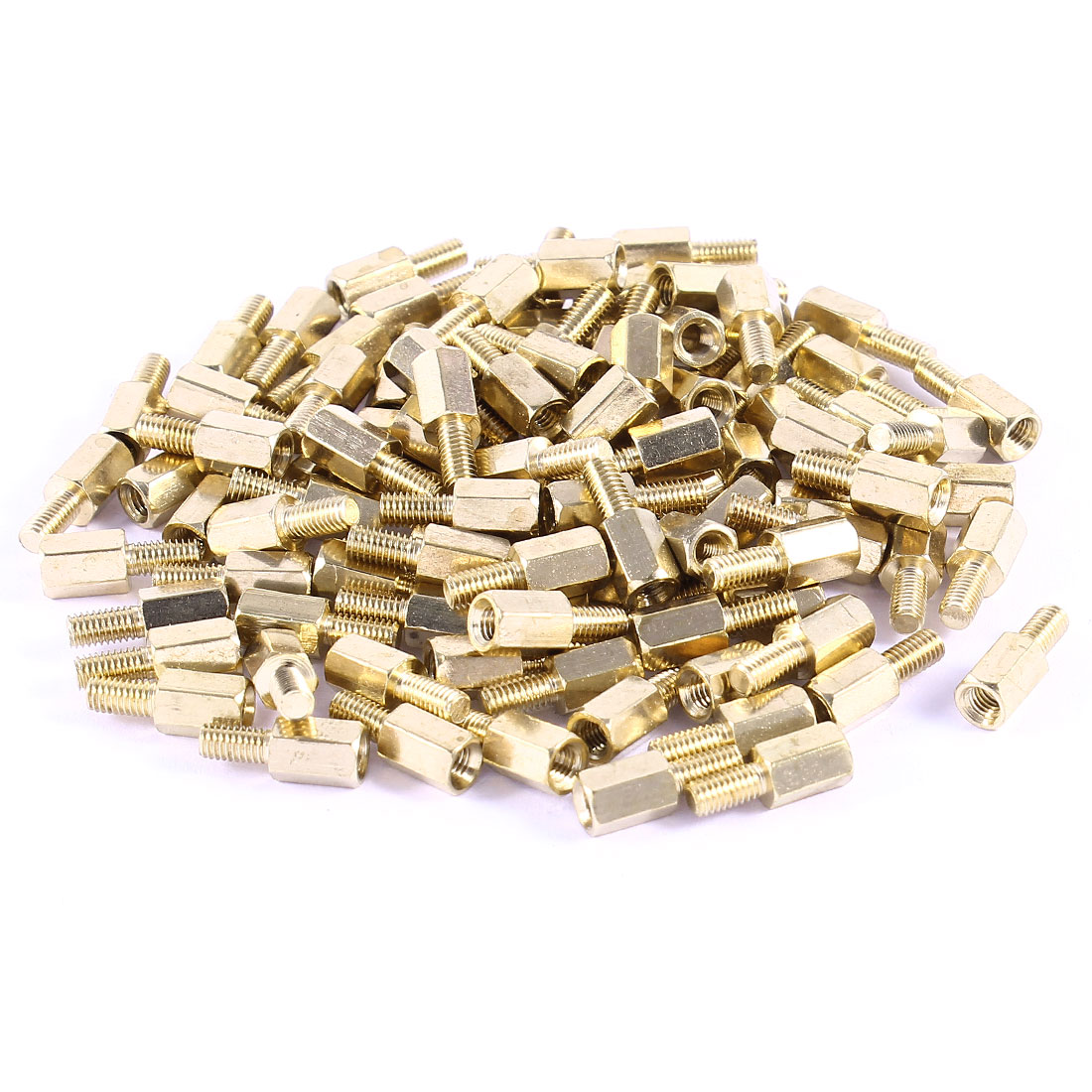 M3 Male to Female Threaded 7mm+6mm PCB Spacer Stand-off 13mm Gold Tone 100 Pcs