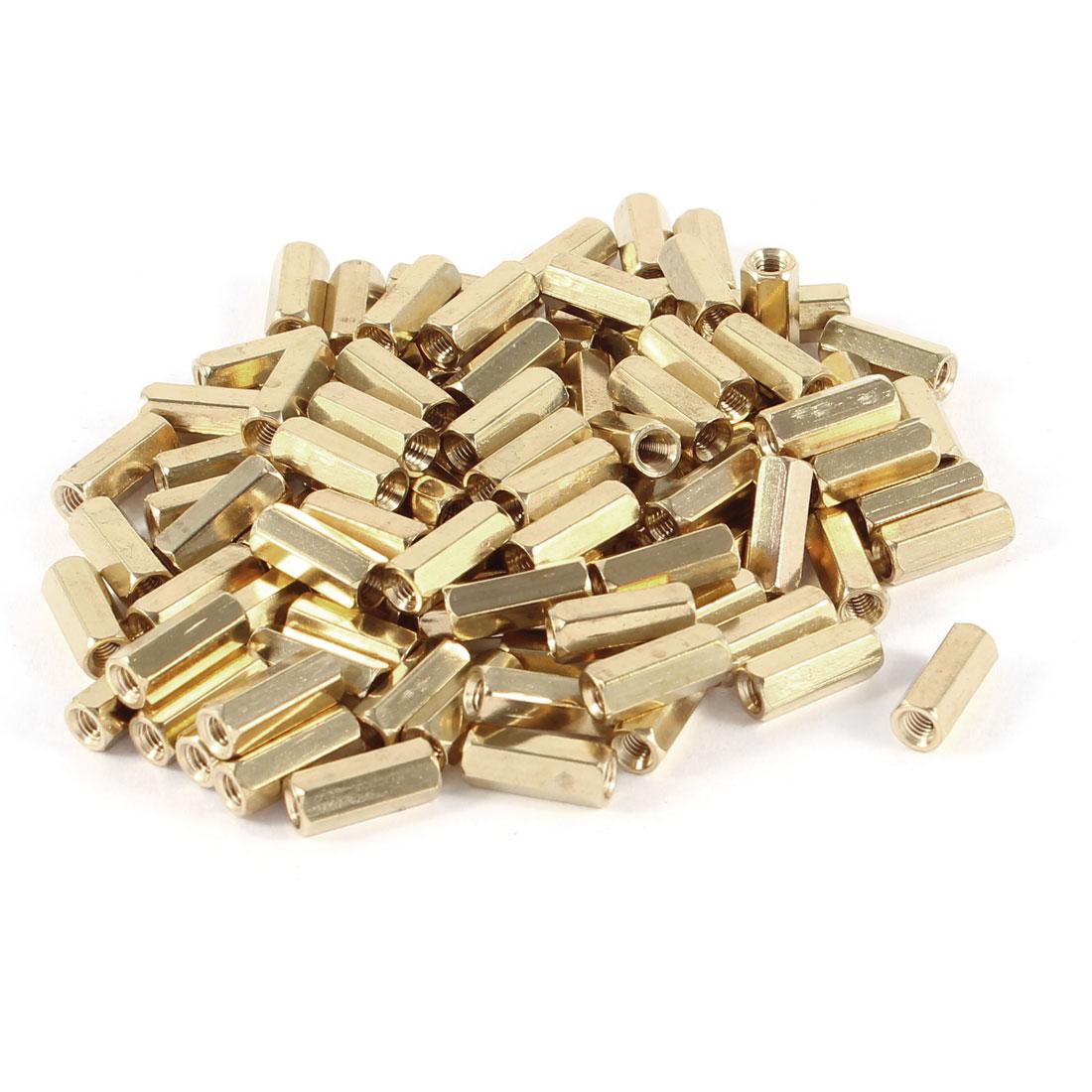 100 Pcs Hex Hexagon Female Nut Brass Standoff Spacer M3x12 M3 12mm