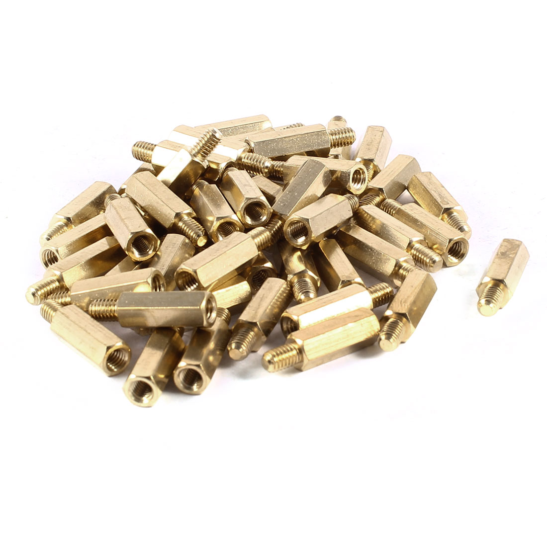50 Pcs Brass Hex Standoff Spacer M4x16mm Female to M4x6mm Male M4 16+6mm