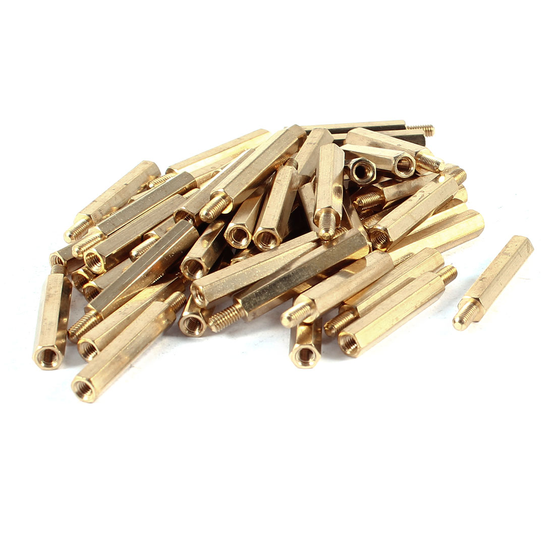 50 Pcs Brass Hex Standoff Spacer M3x25mm Female to M3x6mm Male M3 25+6mm