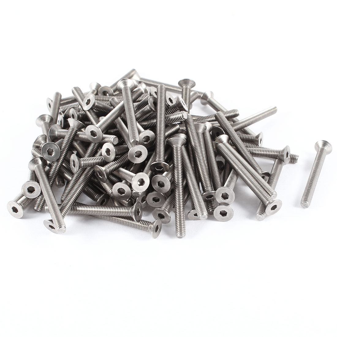 100 Pcs 304HC Stainless Steel Countersunk Hex Flat Head Bolts Screws M4x40mm