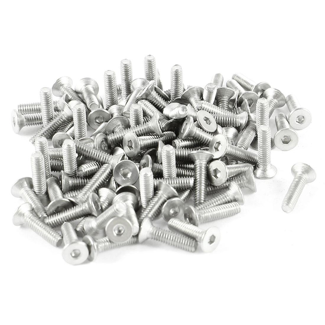 100Pcs 304HC Stainless Steel Countersunk Hex Flat Head Key Bolts Screws M2.5 x 10mm