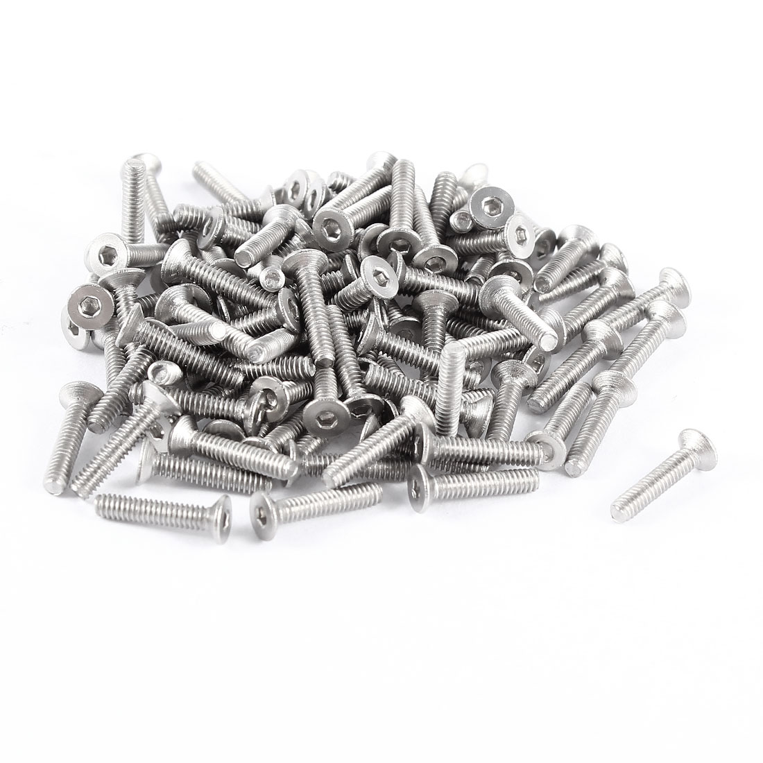 100 Pieces 304HC Stainless Steel Countersunk Flat Head Bolts M2.5x10mm