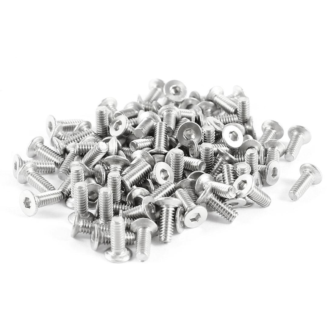 100 Pcs 304HC Stainless Steel Countersunk Hex Flat Head Key Bolts Screws M2 x 6mm