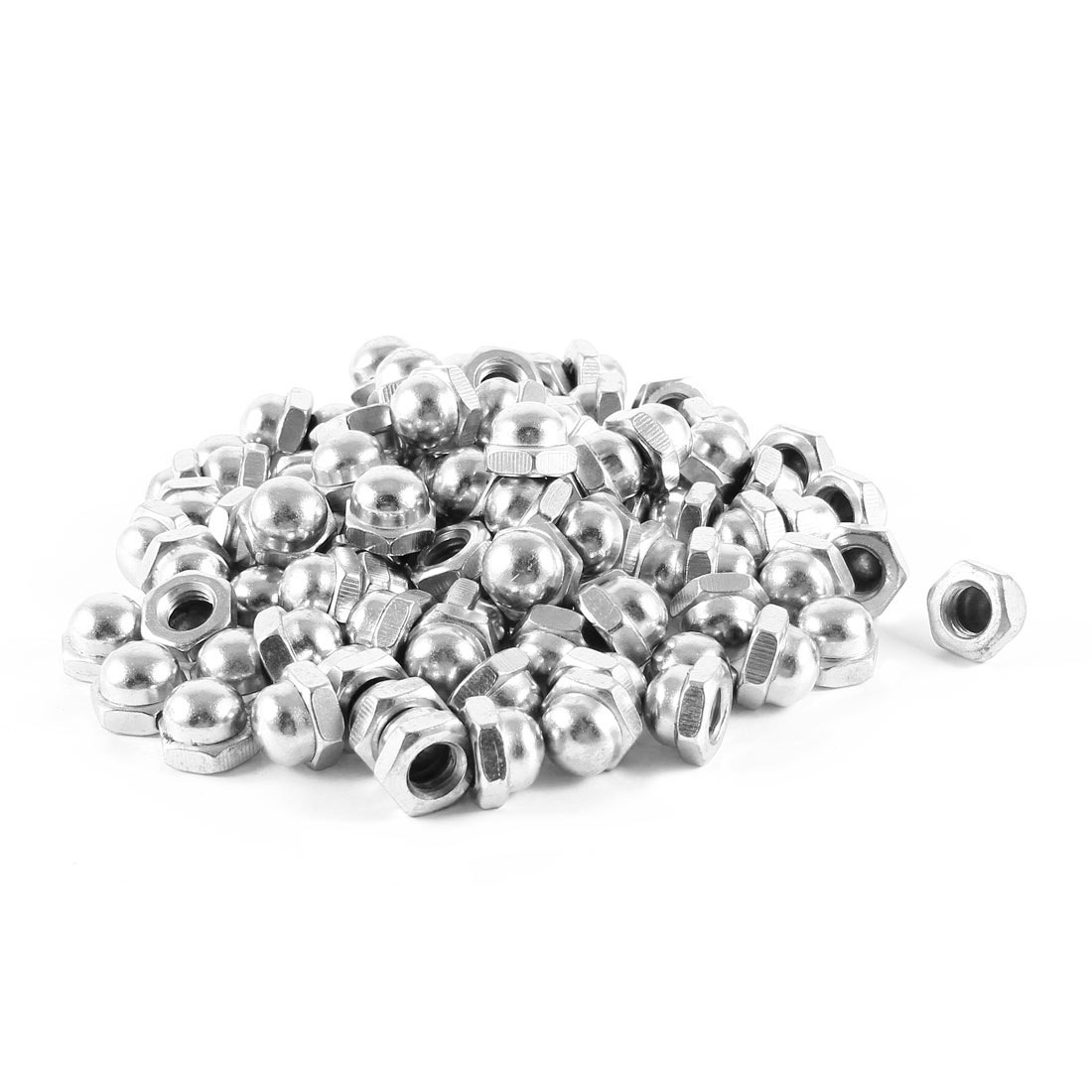 100 Pcs Nickle Plated Dome Head Acorn Cap Capped Hex Nut M8 8mm