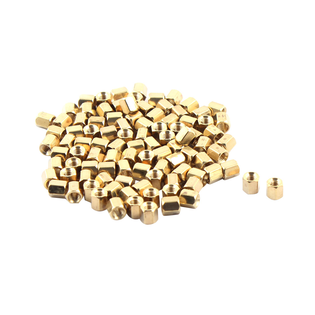100 Pieces 3mm Female Threaded PCB Brass Standoff Spacer 5mm High Gold Tone M3x5