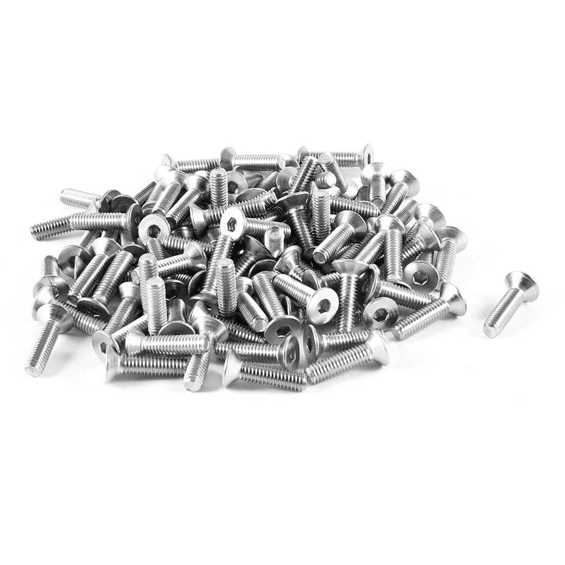 100 Pcs 304HC Steel Countersunk Hex Socket Flat Head Bolts Screws M4 x 16mm
