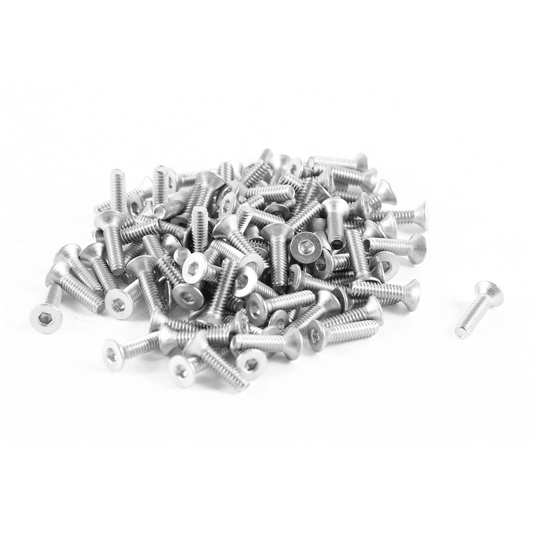 100 Pcs 304HC Steel Countersunk Hex Flat Head Bolts Screws M2 x 8mm