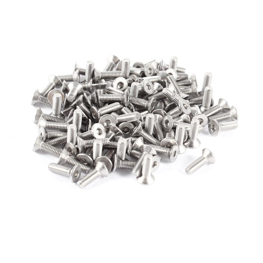 100 x 304HC Stainless Steel Countersunk Flat Head Hex Socket Bolt Screws M3x10mm