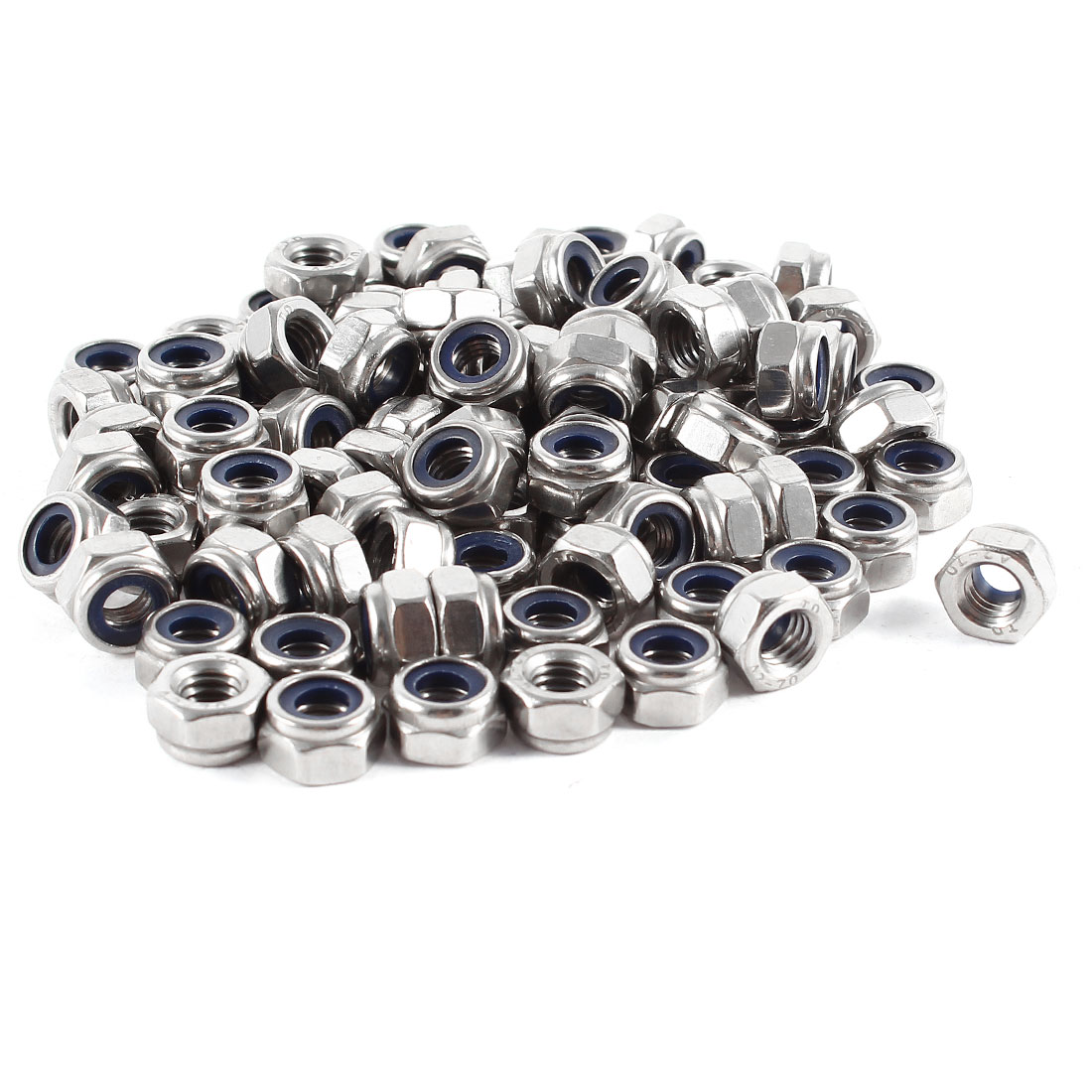 100 Pcs 304HC A2 70 A2-70 Stainless Steel Hex Nylock Nyloc Lock Nut M6 6mm