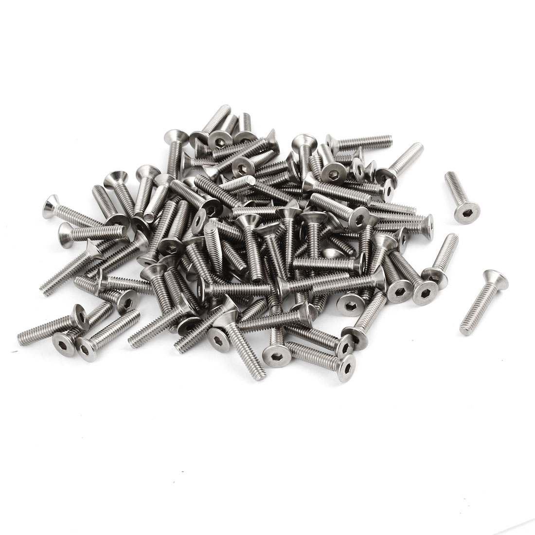 100 Pcs 304HC Stainless Steel Countersunk Flat Head Hex Socket Bolt Screw M4x20mm