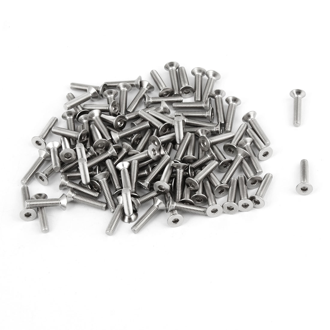 100Pcs 304HC Stainless Steel Countersunk Flat Head Hex Key Bolt Screw M3x14mm