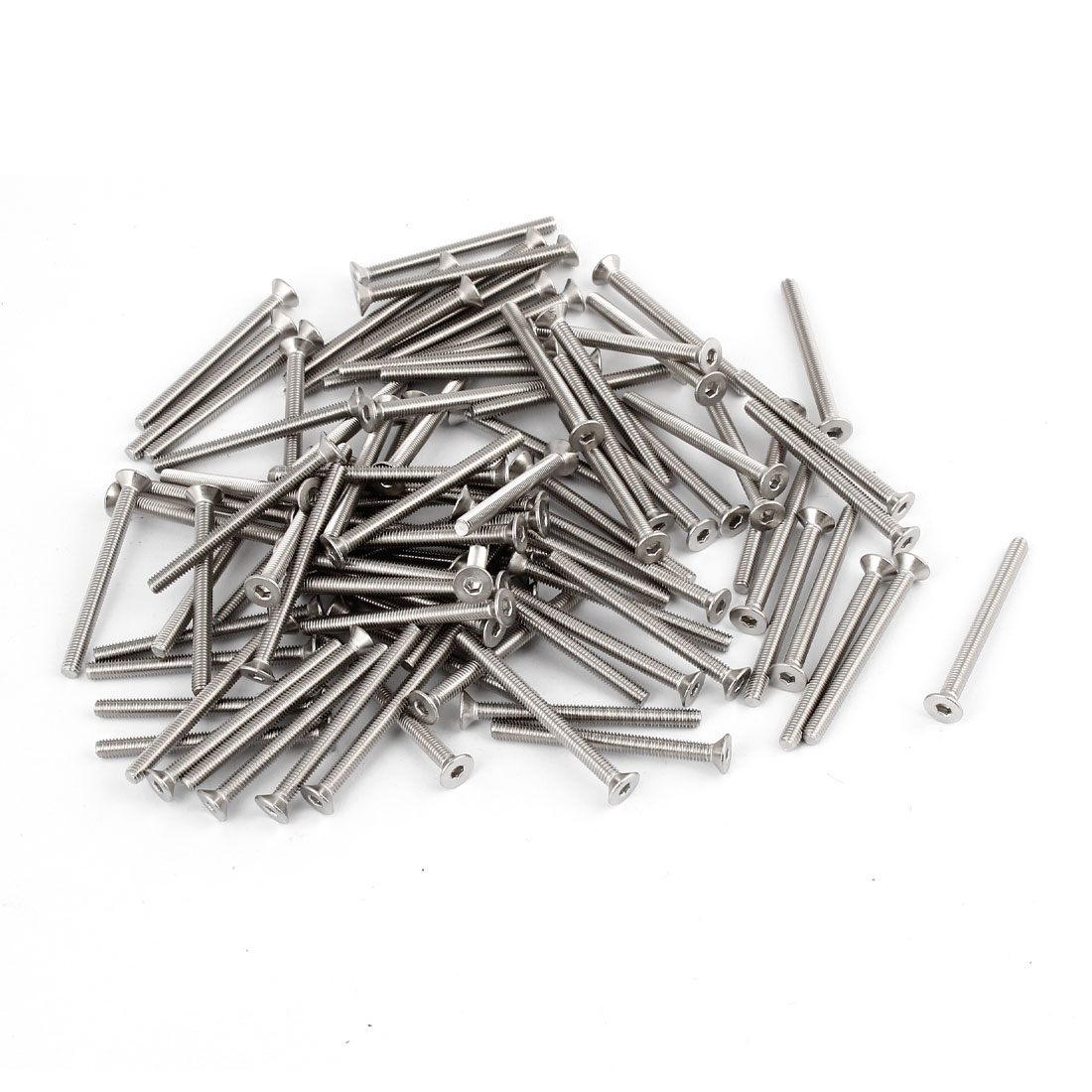 100 x 304HC Stainless Steel Countersunk Hex Key Bolt Screw M3x35mm Silver Tone