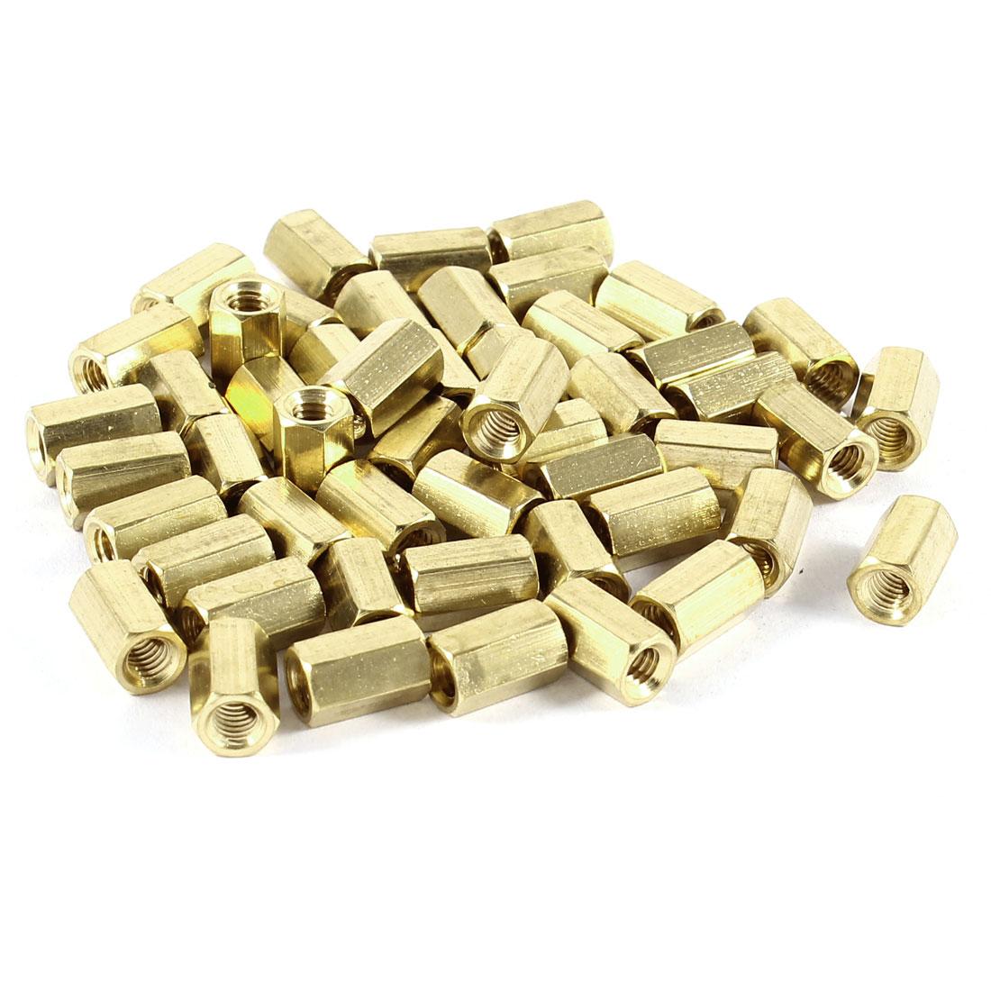 50 Pcs Hex Hexagon Female Nut Brass Standoff Spacer M4x10 M4 10mm