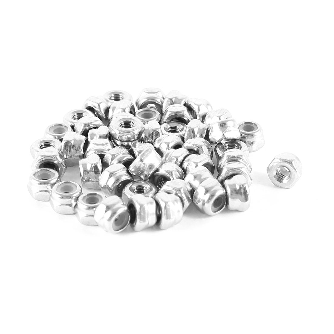 50 Pcs 304HC A2 70 A2-70 Stainless Steel Hex Nylock Nyloc Lock Nut M2.5 2.5mm