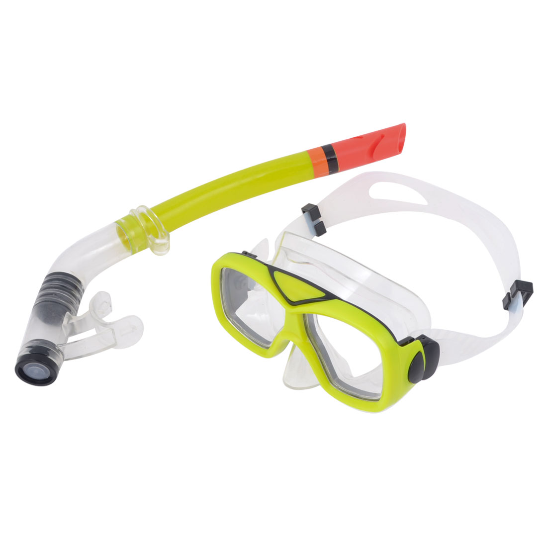 Adults Plastic Frame Adjustable Clear White Head strap Diving Goggles Snorkel Set Yellow