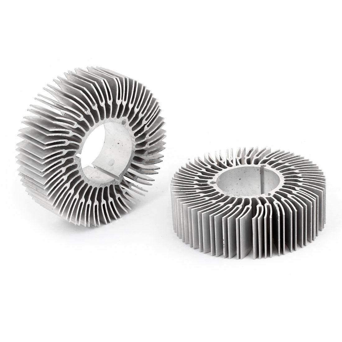 70mm x 28mm x 20mm Sivler Tone Aluminum Round Heatsink Cooling Fins 2 Pcs