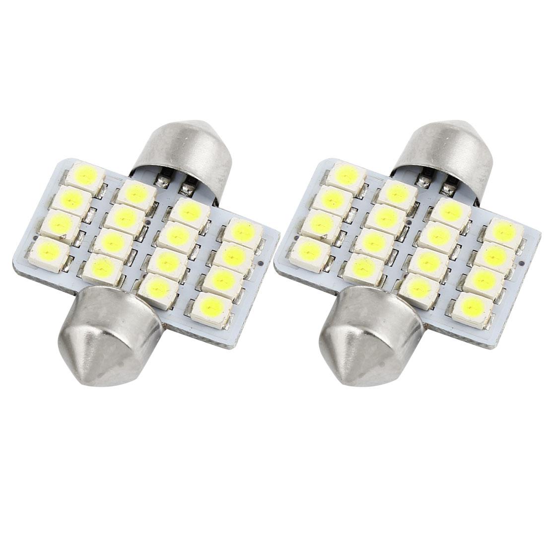 2Pcs 31mm 3528 16 SMD White Car Festoon Dome LED Light Lamp 3175 3022 Internal
