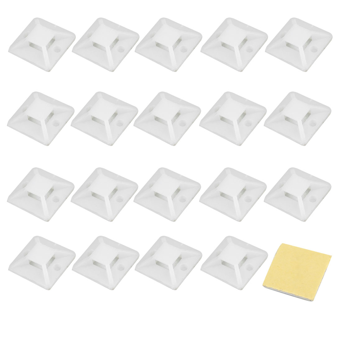 20 Pcs White Yellow Self Adhesive Cable Tie Mount Base Holder 24 x 24 x 7.8mm