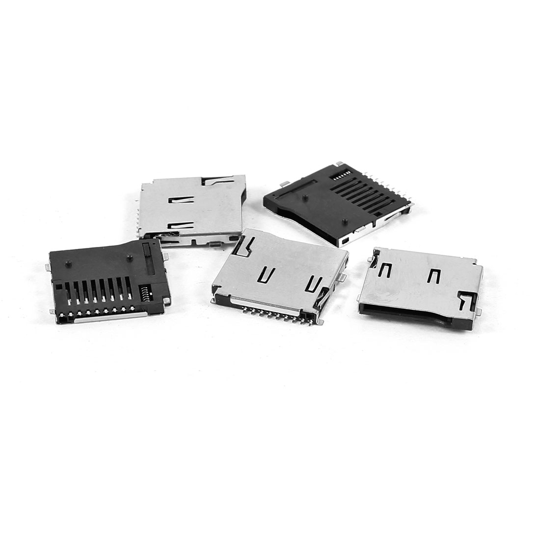 5 Pieces Push-in Push-out Model Micro SD TF PCB Mount Card Slots for Phone