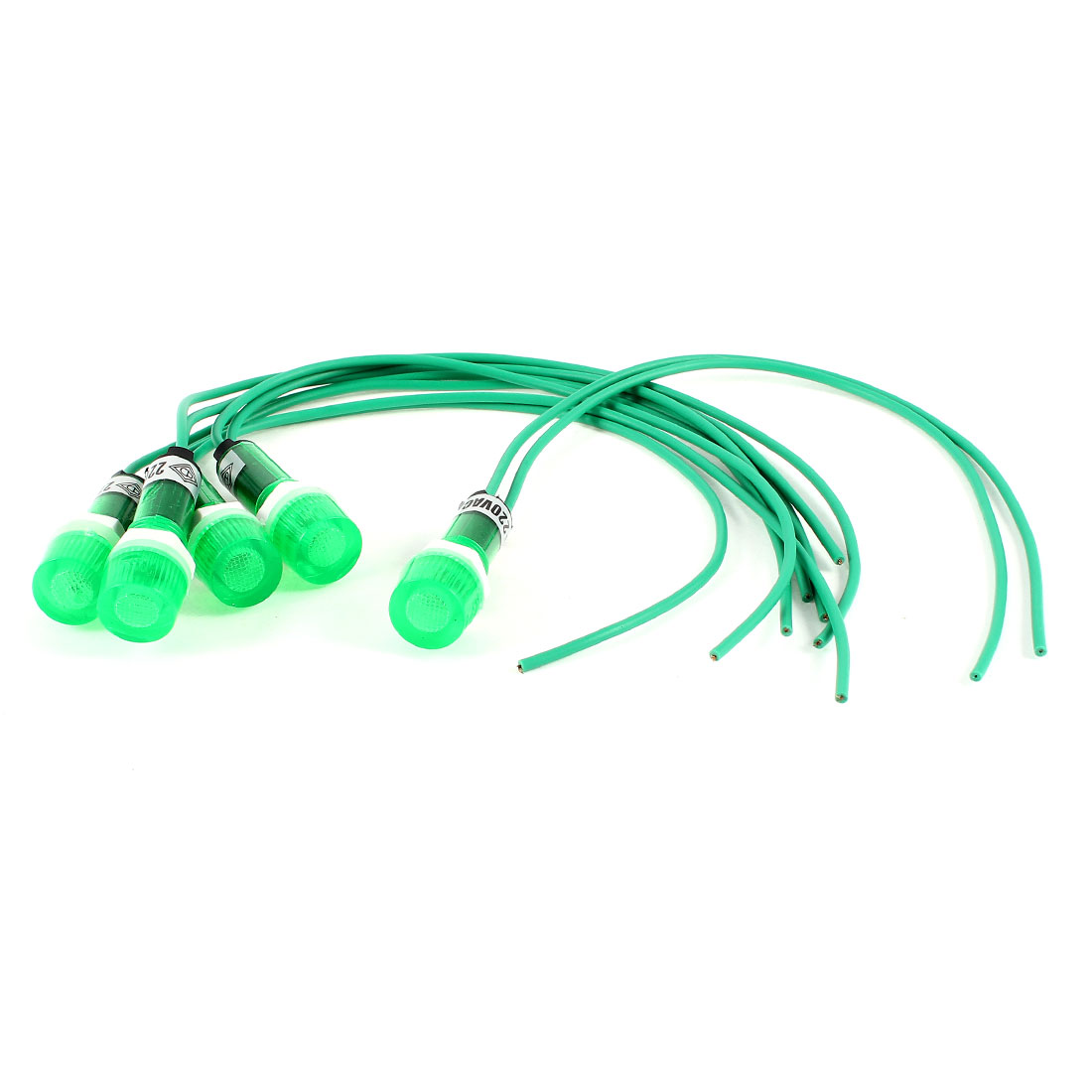 5Pcs AC 220V Cylinder 2-Wired Green LED Accident Alarm Signal Pilot Lamp 23cm