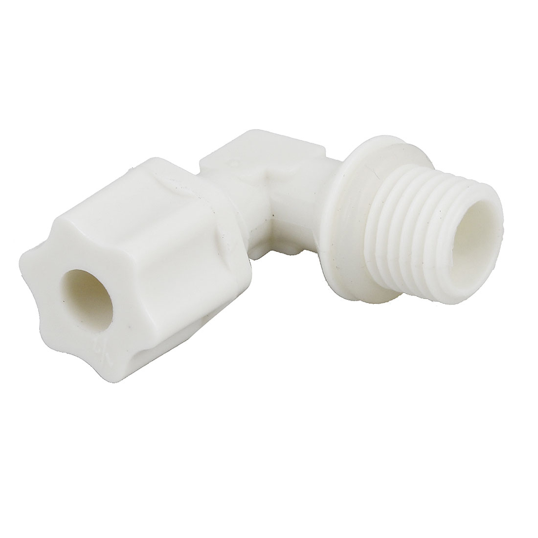 Plastic 1/4PT Male Threaded Right Angle Connector Elbow Fitting w Ring
