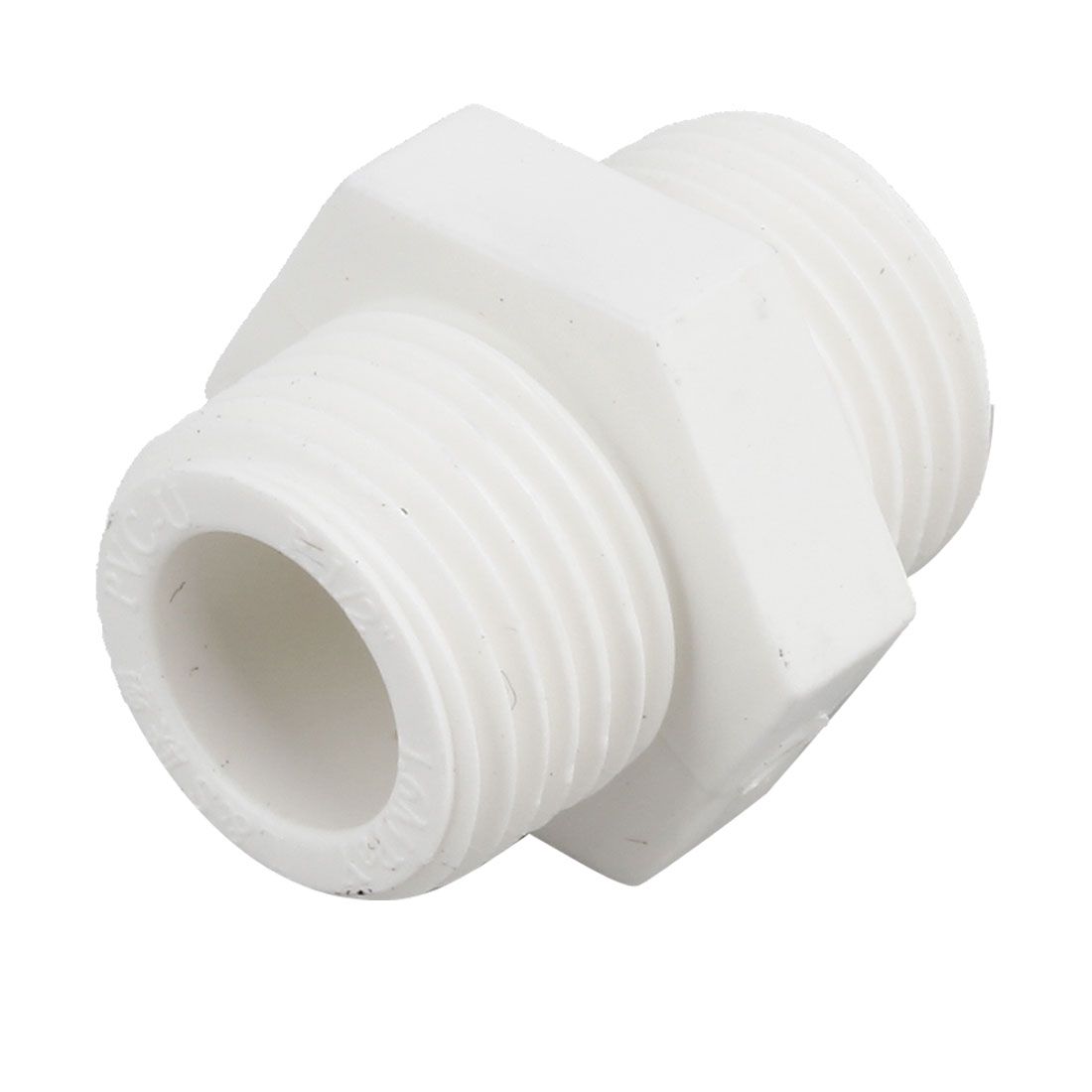 1/2PT Male to Male Thread PVC-U Straight Connector Fittings White