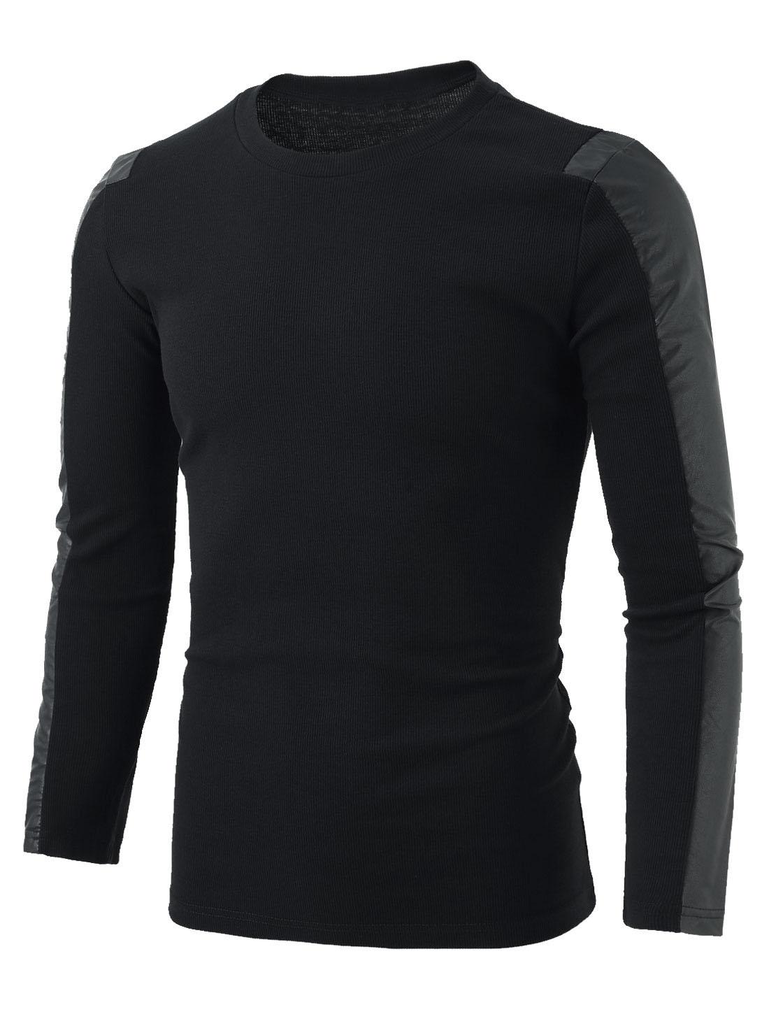 Men Imitation Leather Panel Ribbed Design Slim Shirt Black S